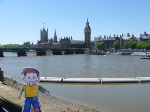 Flat Stanley at Big Ben and Parliament