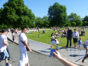 Flat Stanley in the Princess Diana memorial fountain in Hyde Park