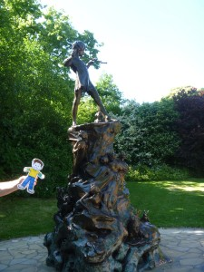 Flat Stanley by the Peter Pan statue in Kensington Gardens