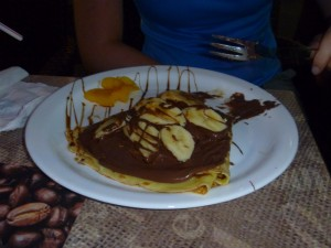 Chocolate crepe with bananas