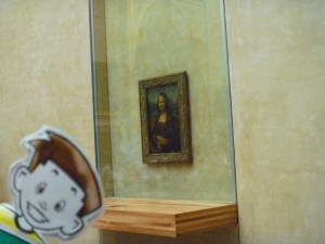 Flat Stanley with the Mona Lisa