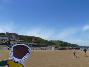 Flat Stanley looking at Omaha Beach in Normandy