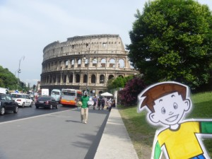 Flat Stanley at the Colosseum