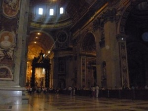 The inside of St. Peter's Basilica
