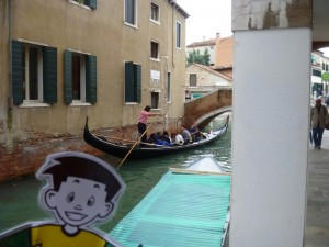 Flat Stanley smiling big after his gondola ride