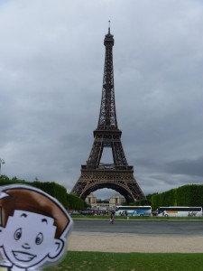 Flat Stanley at the Eiffel Tower