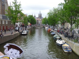 Flat Stanley at the canals in Amsterdam