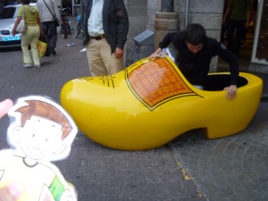 Flat Stanley with a big clog