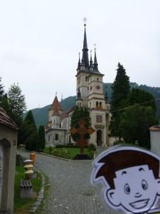 Flat Stanley near a Transylvanian church