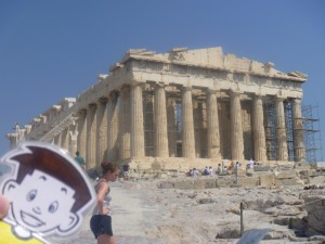 Flat Stanley at the Parthenon