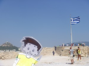 Flat Stanley on top of the Acropolis